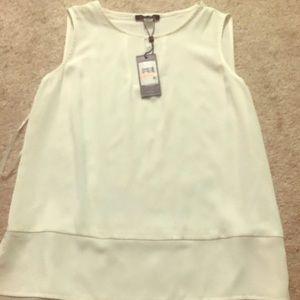 Keyhole neck white sleeveless blouse